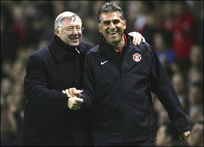 Sir Alex Ferguson and assistant coach Carlos Queiroz