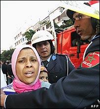 Policeman restrains Casablanca resident