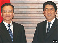 Wen Jiabao and Shinzo Abe