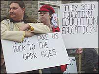 School closure protesters in Carmarthenshire