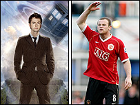 David Tennant as Doctor Who and Wayne Rooney