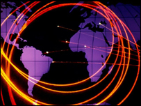 World map with fibre optic cable