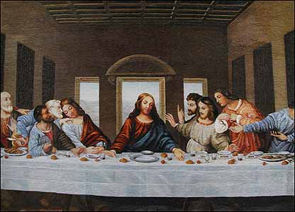 Первый куплет 1. Тайная Вечеря - Леонардо да Винчи.  2. Рождение Венеры - Сандро Боттичели.