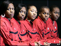 Members of the Rutgers team at a press conference