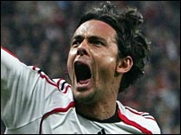Filippo Inzaghi celebrates scoring for AC Milan