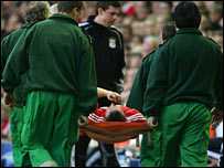 Bellamy was stretchered off in the first half