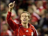 Peter Crouch celebrates scoring Liverpool's winner