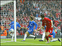 Luis Garcia scores the goal which proved the winner in Liverpool's Champions League semi-final against Chelsea in 2005