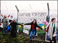 Members of the Greenham Common Women Peace Camp