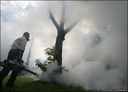 Jakarta is sprayed for mosquitoes to keep dengue fever down
