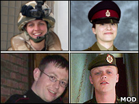 (Clockwise from top left) 2nd Lt Yorke Dyer, Pte Eleanor Dlugosz, Cpl Kris O'Neill, Kingsman Adam James Smith