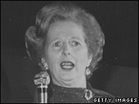 Margaret Thatcher speaking into a microphone at the  Conservative Party conference in Blackpool, 1980