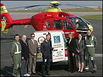 Cornwall Air Ambulance and Jobline Staffing with the charity van and helicopter