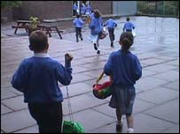 Pupils going home