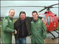 Paramedics Ian Binnington and Meurig McMillan with Mike Webber