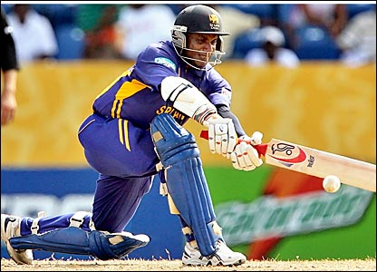 Sanath Jayasuriya plays a shot