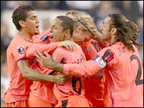 Seville celebrate at Tottenham