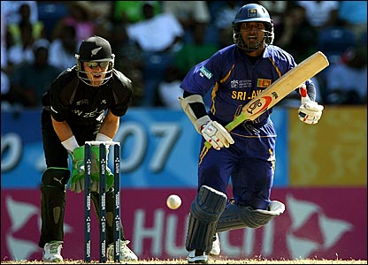 Sri Lanka's Kumar Sangakkara hits the ball against New Zealand