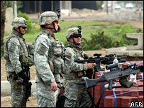 US soldiers at a checkpoint in Baghdad (file picture)