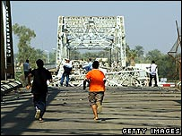 PIcture of destruction at Sarrafiya Bridge