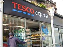 Delivery of bread to Tesco Express store in Kew, west London