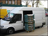 Van delivering bread to Tesco store in Kew, west London