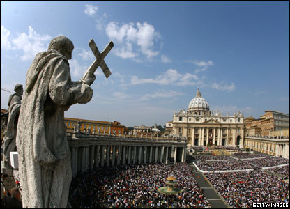 Saint Peter's square at the Vatican as Pope Benedict XVI celebrates a mass on Easter Sunday