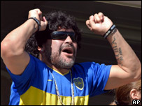 Diego Maradona at game between Boca Juniors and Gimnasia y Esgrima La Plata in March 2007