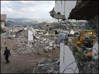 Badly bombed city in Lebanon