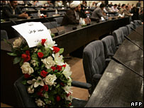 Flowers on the seat of MP Mohammed Awadh, who died in the attack