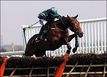 Timmy Murphy rides Al Eile over the last in the Aintree Hurdle