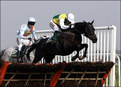 Albertas Run, ridden by jockey Noel Fehily leads over the final fence