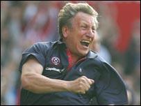 Sheff Utd boss Neil Warnock celebrates a crucial win against West Ham