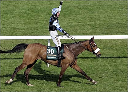 Robbie Power celebrates winning the Grand National on Silver Birch