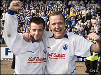 Paul McGowan (left) and Peter Weatherson celebrate Morton's promotion