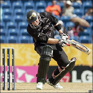 New Zealand's Scott Styris avoids a bouncer