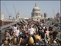 Space hoppers on the Millennium Bridge