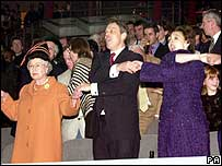 The Queen, Tony Blair and Cherie Blair celebrating new Millennium at the Millennium Dome