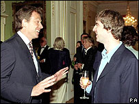 Tony Blair and Noel Gallagher at Downing Street reception