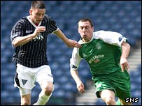 Hibs midfielder Scott Brown (right) battles for possession with Adam Hammill