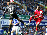 Darren Bent, right, goes close with a lob at Goodison Park