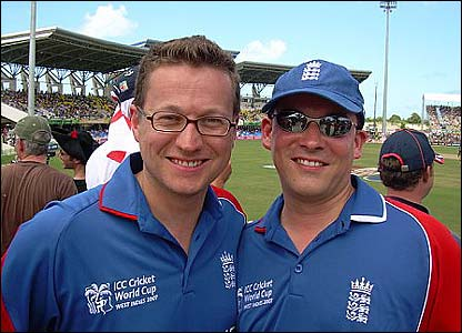 Andrew also sent this picture of a couple of Brits out in the midday sun during England's match against Australia