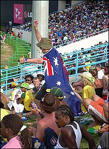 Andrew Churcher of Southen sent this photo of Australian fans in the Viv Richards party stand