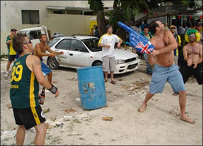 Fabian also sent this picture of Australian fans enjoying an informal game of cricket outside the Kensington Oval