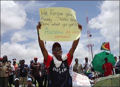 Sara Baker took this photo of Paul Dalgety offering his support to Andrew Flintoff at Providence Stadium in Guyana