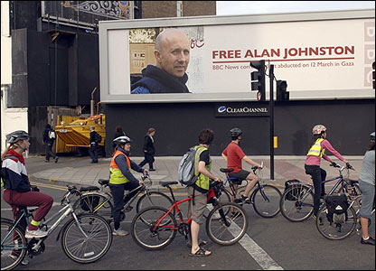 Valla que pide la liberación de Alan Johnston