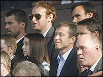 Chelsea club owner Roman Abramovich (centre) was an intrigued observer as his side beat Blackburn in the FA Cup semi-final