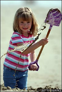 Holly Watson, 5, from Kent, playing in Bournemouth