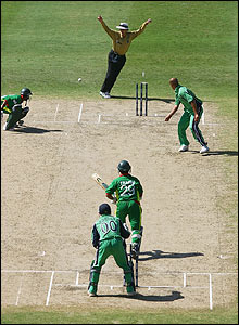 Tamim Iqbal's drive is deflected onto the stumps by Botha leaving Saqibul Hasan stranded