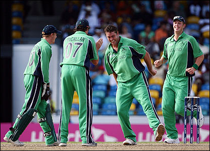 Dave Langford-Smith performs a jig of delights after claiming a return catch to remove Mashrafe Mortaza